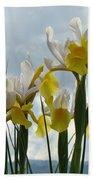Irises Yellow White Iris Flowers Storm Clouds Sky Art Prints Baslee Troutman Beach Sheet