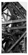 Iron Bridge Close Up In Black And White Beach Towel