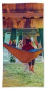 Island Dreams Under The Pier Watercolors Painting Beach Towel