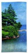 Island Home With Bridge - My Happy Place Beach Towel