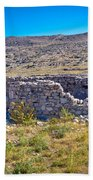 Island Of Krk Old Stone Ruins Beach Towel