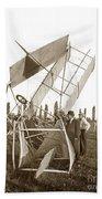 It Was A Good Landing The Pilot Walked Away  Twin Wing Aircraft  Circa 1909 Beach Towel