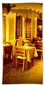 Italian Cafe In Golden Sepia Beach Towel