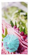 Italian Gelato Raspberry Ice Cream With Blue Umbrella Beach Towel
