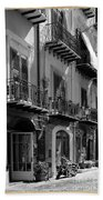 Italian Street In Black And White Beach Towel by Stefano Senise