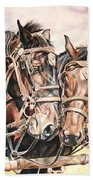Jack And Joe Hard Workin Horses Beach Towel
