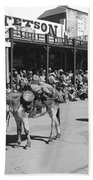 Jack Hendrickson With Pet Burro Number 2 Helldorado Days Parade Tombstone Arizona 1980 Beach Towel