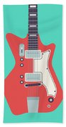 60's Electric Guitar - Teal Beach Towel