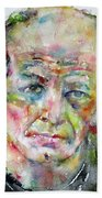 Jackson Pollock - Watercolor Portrait.3 Beach Towel
