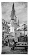 Jackson Square Scene New Orleans - Bw  Beach Towel