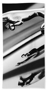 Jaguar Car Hood Ornament Black And White Beach Towel
