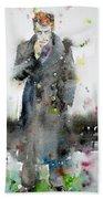 James Dean - Watercolor Portrait.3 Beach Towel