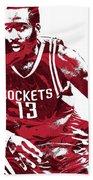 James Harden Houston Rockets Pixel Art 3 Beach Towel