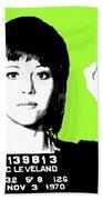 Jane Fonda Mug Shot - Lime Beach Towel