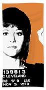 Jane Fonda Mug Shot - Orange Beach Towel