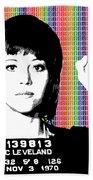 Jane Fonda Mug Shot - Rainbow Beach Towel