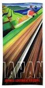 Japan, Japanese Railways, Travel Poster Beach Sheet