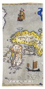 Japan: Map, 1606 Beach Towel