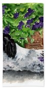 Japanese Chin Puppy And Petunias Beach Towel