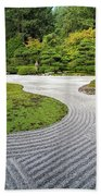 Japanese Flat Garden With Checkerboard Pattern Beach Towel