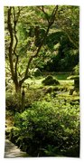 Japanese Garden At Butchart Gardens In Spring Beach Sheet