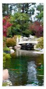 Japanese Garden Bridge And Koi Pond Beach Towel