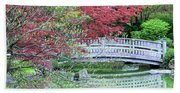 Japanese Garden Bridge In Springtime Beach Towel