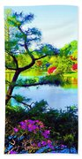 Japanese Garden In Spring Beach Towel