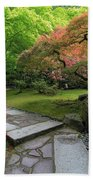 Japanese Garden Strolling Stone Path Beach Sheet