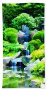 Japanese Garden Waterfall Beach Towel