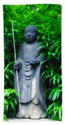 Japanese House Monk Statue Beach Towel