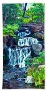 Japanese Waterfall Garden Beach Towel