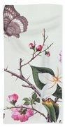Japonica Magnolia And Butterflies Beach Towel