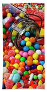 Jar Spilling Bubblegum With Candy Beach Towel by Garry Gay