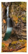 Jasper Maligne Canyon Waterfall Beach Towel