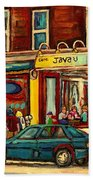 Java U Coffee Shop Montreal Painting By Streetscene Specialist Artist Carole Spandau Beach Towel