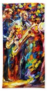 Jazz Band - Palette Knife Oil Painting On Canvas By Leonid Afremov Beach Towel
