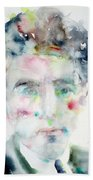 Jean Cocteau - Watercolor Portrait.2 Beach Towel