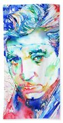 Jean Gabin - Colored Pens Portrait Beach Towel