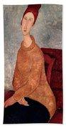 Jeanne Hebuterne In A Yellow Jumper Beach Towel by Amedeo Modigliani