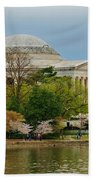 Jefferson Memorial, Springtime In Dc Is When Things Bloom, Like The Japanese Cherry Trees Beach Towel