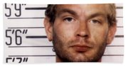 Jeffrey Dahmer Mug Shot 1991 Square  Beach Towel