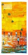 Jerusalem Wailing Wall Original Acrylic Palette Knife Painting Beach Towel