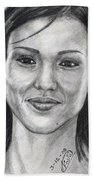 Jessica Alba Portrait Beach Towel