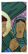 Jesus And The Women Of Jerusalem Beach Towel