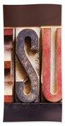 Jesus - Antique Letterpress Letters Beach Towel