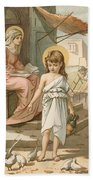 Jesus As A Boy Playing With Doves Beach Sheet