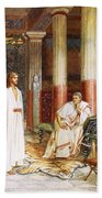 Jesus Being Interviewed Privately Beach Sheet