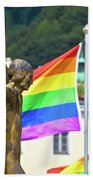 Jesus Christ Crucifixion And Gay Pride Flags View Beach Towel