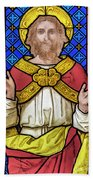 Jesus Christ Stained Glass Beach Towel